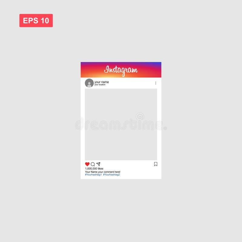 Modello del modello del telaio sociale della foto del instagram di media illustrazione di stock