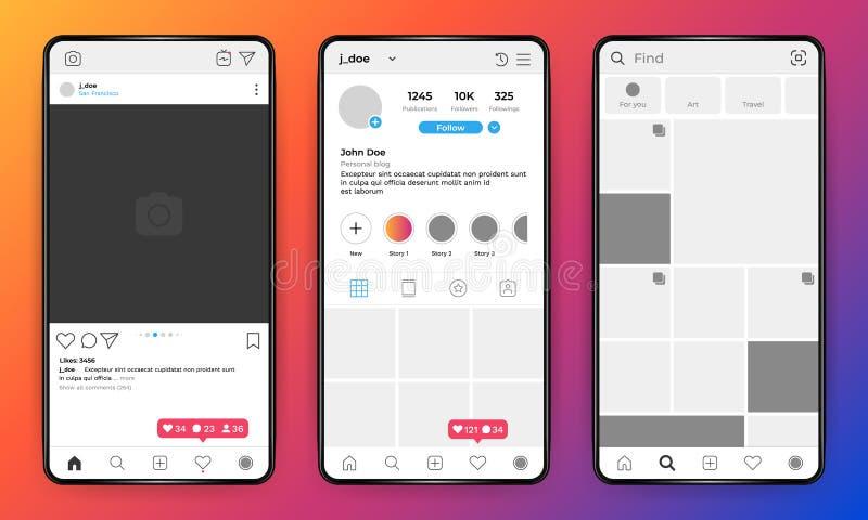 Modello del telefono Interfaccia mobile della rete sociale sul telefono realistico, struttura della foto di profilo utente Modell illustrazione vettoriale