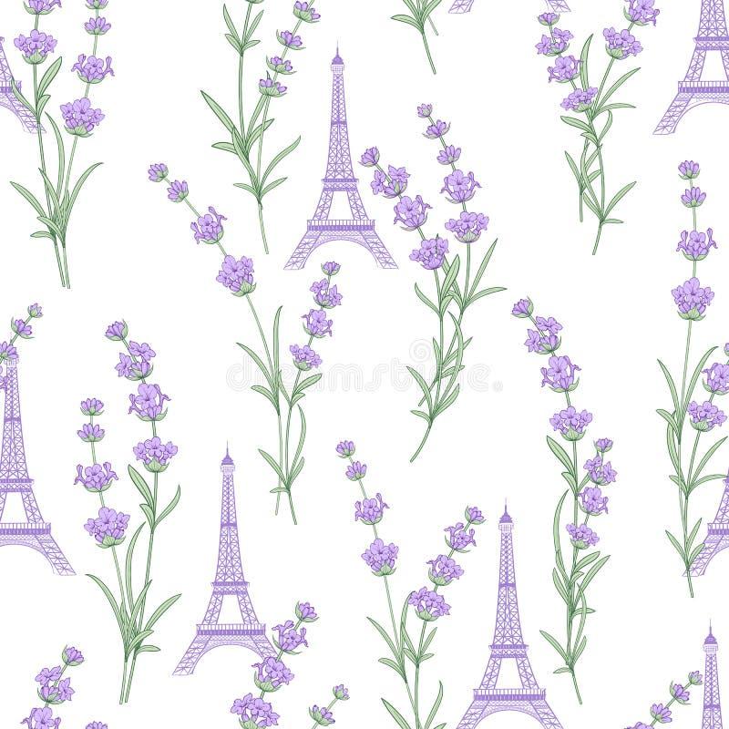 Modello del tessuto con i fiori della lavanda royalty illustrazione gratis