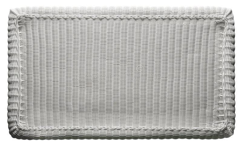 Modello del tessuto di struttura del canestro, piano d'appoggio di vimini bianco fotografie stock libere da diritti