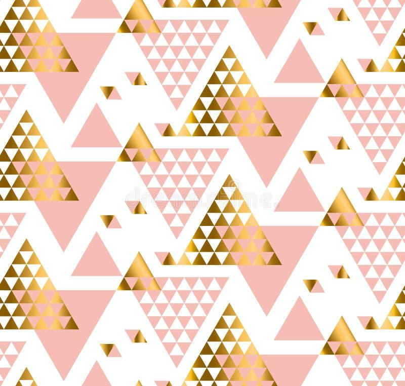 Modello del triangolo della geometria vettore stilizzato dell'oro illustrazione vettoriale