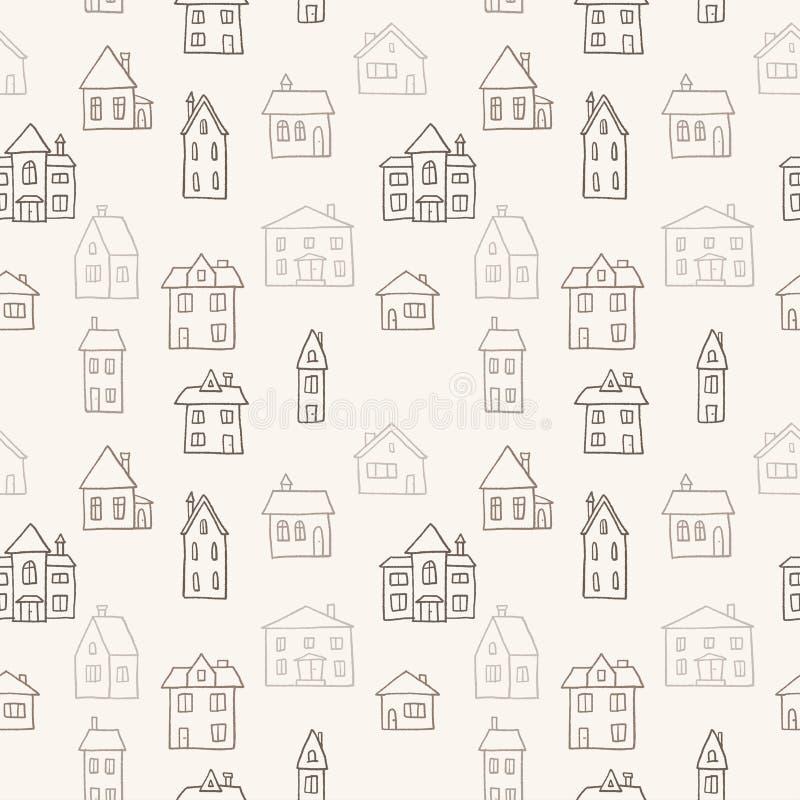 Modello del villaggio di scarabocchio royalty illustrazione gratis