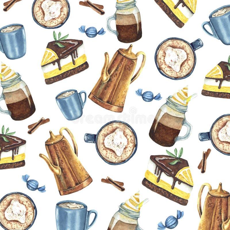 Modello dell'acquerello con caffè ed i dolci illustrazione di stock