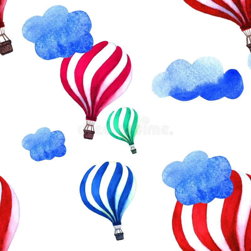 Modello dell'acquerello con l'aerostato e le nuvole Illustrazione d'annata disegnata a mano del collage Scherza la struttura dipi royalty illustrazione gratis