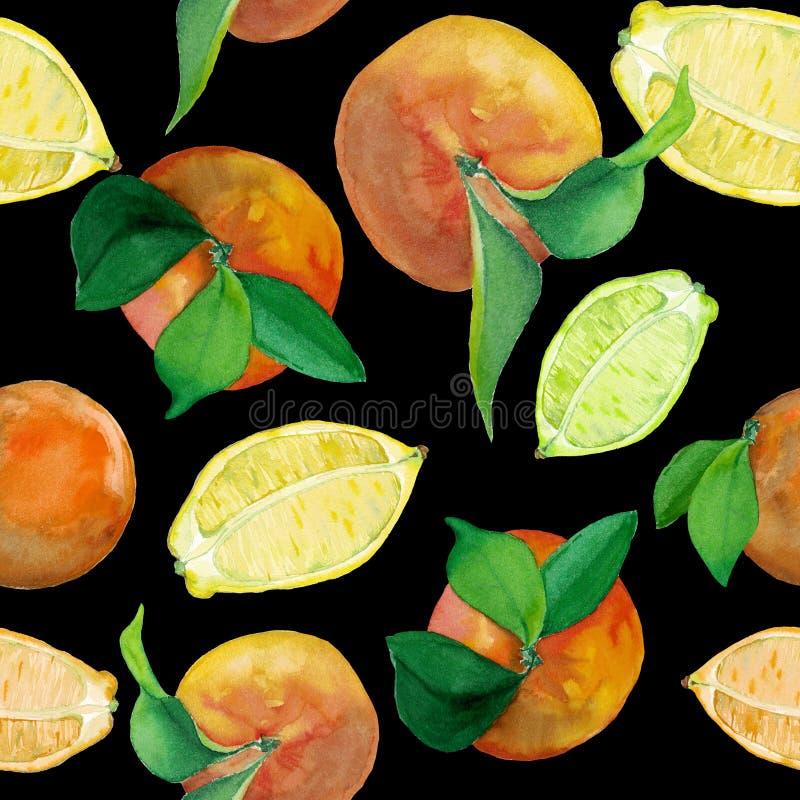 Modello dell'acquerello del limone e delle arance sul nero royalty illustrazione gratis