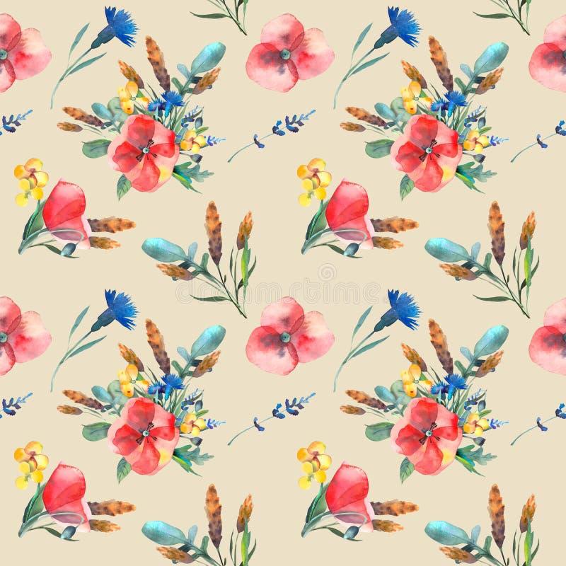 Modello dell'acquerello delle foglie, erbe, fiori, papaveri, ranuncoli, spighette Ruota dentata mascherina royalty illustrazione gratis