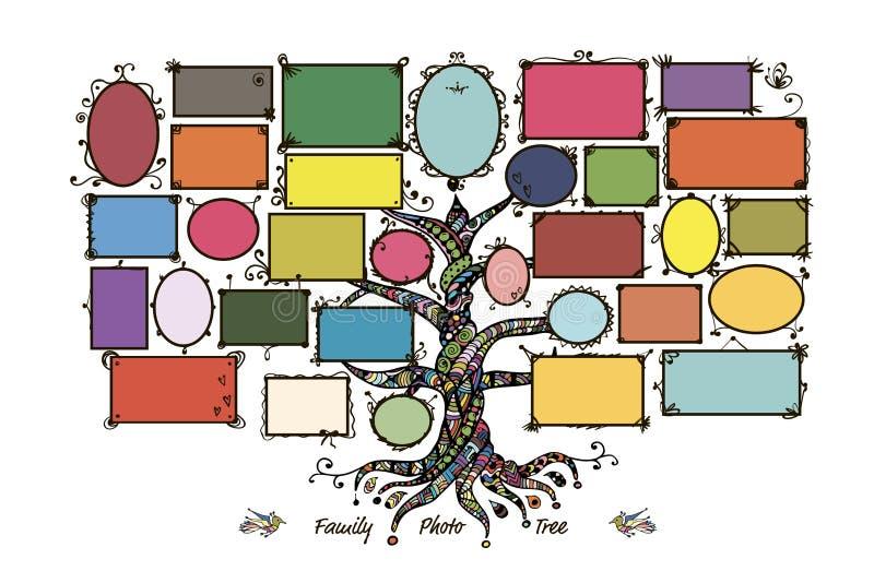 Modello dell'albero genealogico con le cornici illustrazione vettoriale