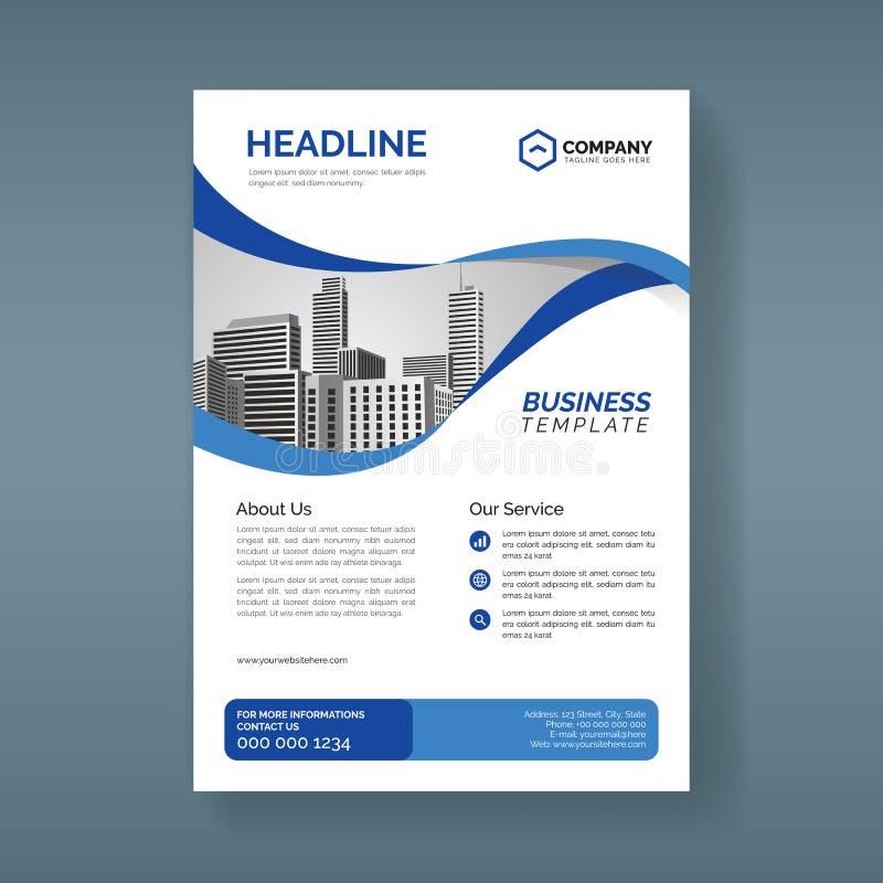Modello dell'aletta di filatoio di affari corporativi con le forme blu ondulate illustrazione vettoriale