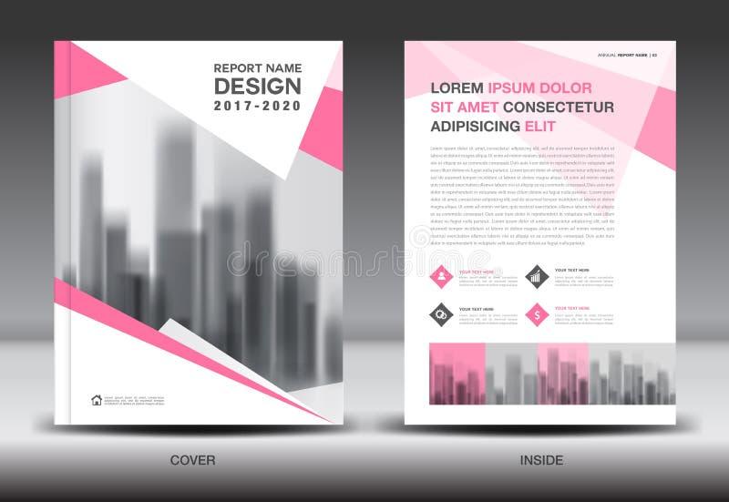 Modello dell'aletta di filatoio dell'opuscolo del rapporto annuale, progettazione rosa della copertura royalty illustrazione gratis