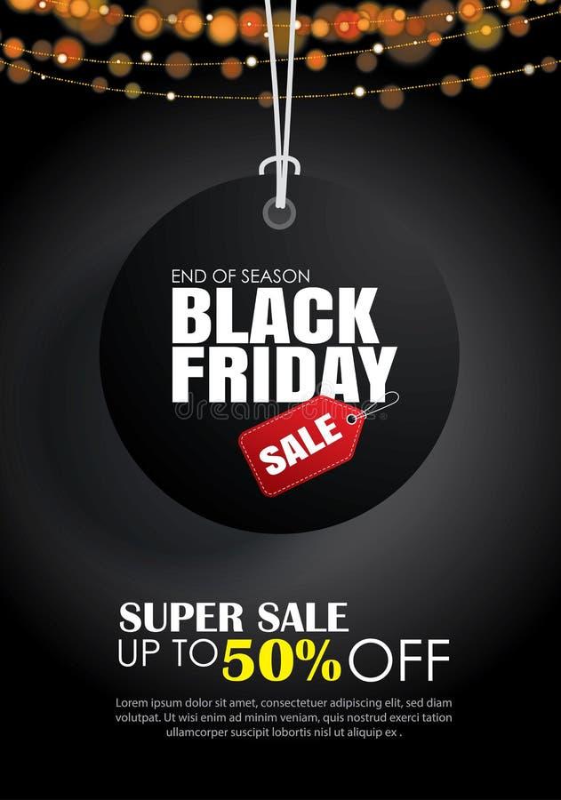 Modello dell'aletta di filatoio di vendita di Black Friday Fondo scuro con il hangi dell'etichetta royalty illustrazione gratis