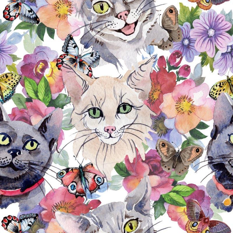 Modello dell'animale selvatico del gatto in uno stile dell'acquerello illustrazione vettoriale