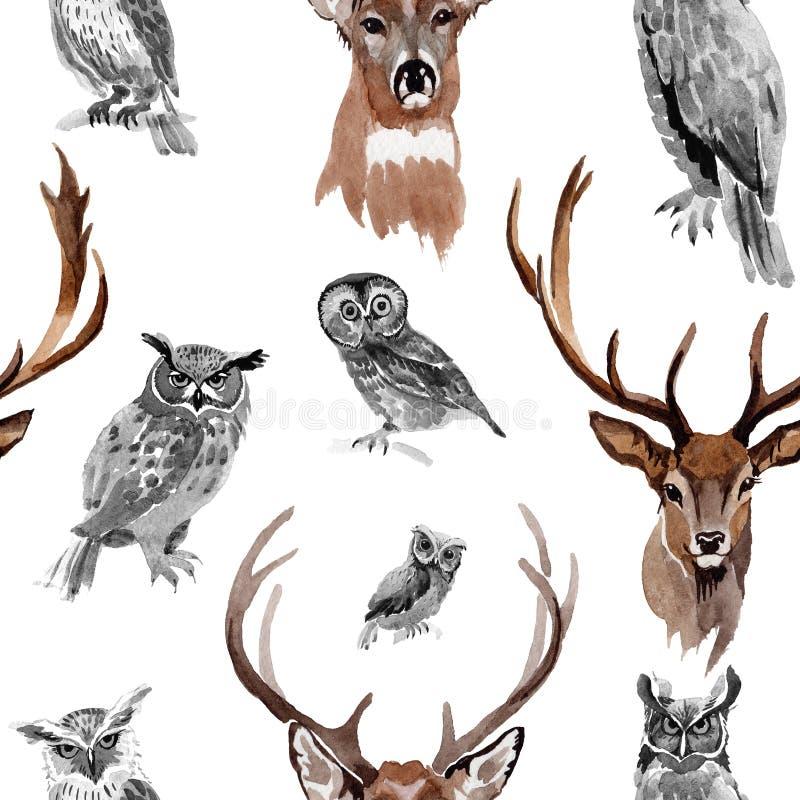 Modello dell'animale selvatico della renna in uno stile dell'acquerello illustrazione di stock