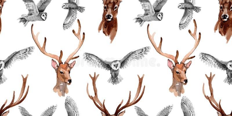 Modello dell'animale selvatico della renna in uno stile dell'acquerello illustrazione vettoriale
