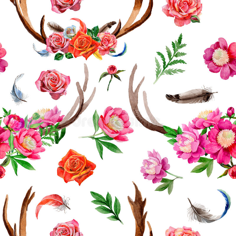Modello dell'animale selvatico della renna in uno stile dell'acquerello royalty illustrazione gratis