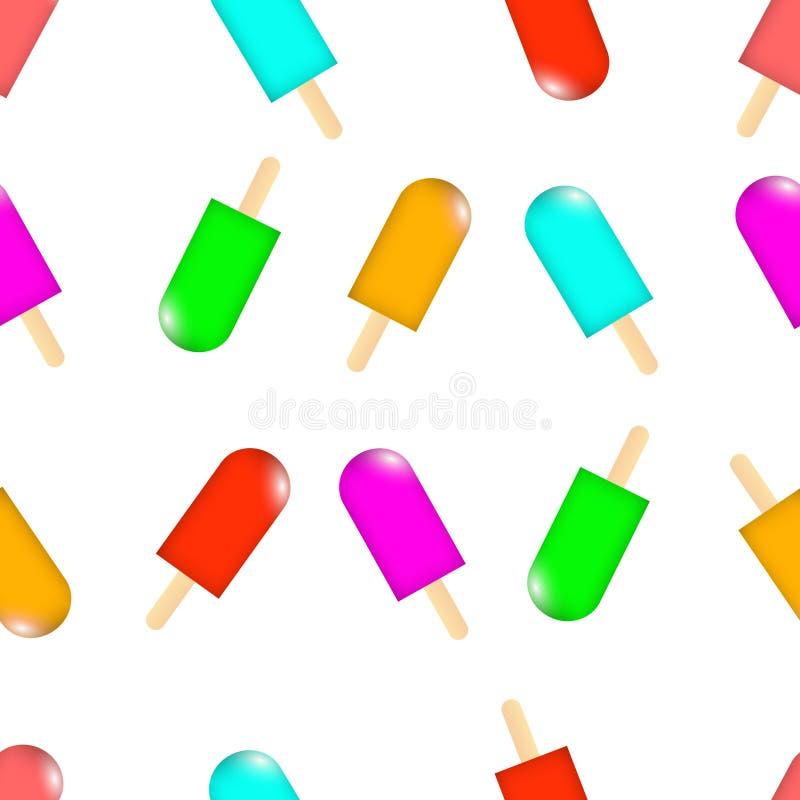Modello dell'arcobaleno della frutta dei lollys del ghiaccio senza cuciture illustrazione vettoriale