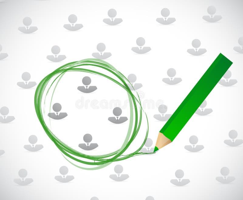Modello dell'avatar di affari e selezione del cerchio royalty illustrazione gratis