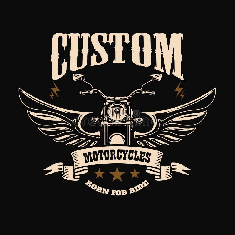 Modello dell'emblema con il motociclo alato Elemento di progettazione per la posta illustrazione di stock