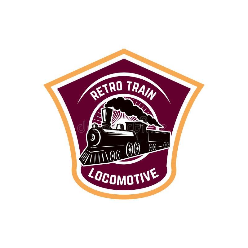 Modello dell'emblema con il retro treno Strada di guida locomotiva Progetti l'elemento per il logo, l'etichetta, l'emblema, segno illustrazione di stock
