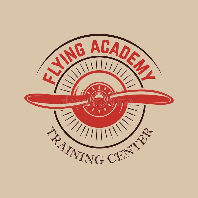 Modello dell'emblema del centro di formazione di aviazione con il retro aeroplano Progetti l'elemento per il logo, l'etichetta, l royalty illustrazione gratis