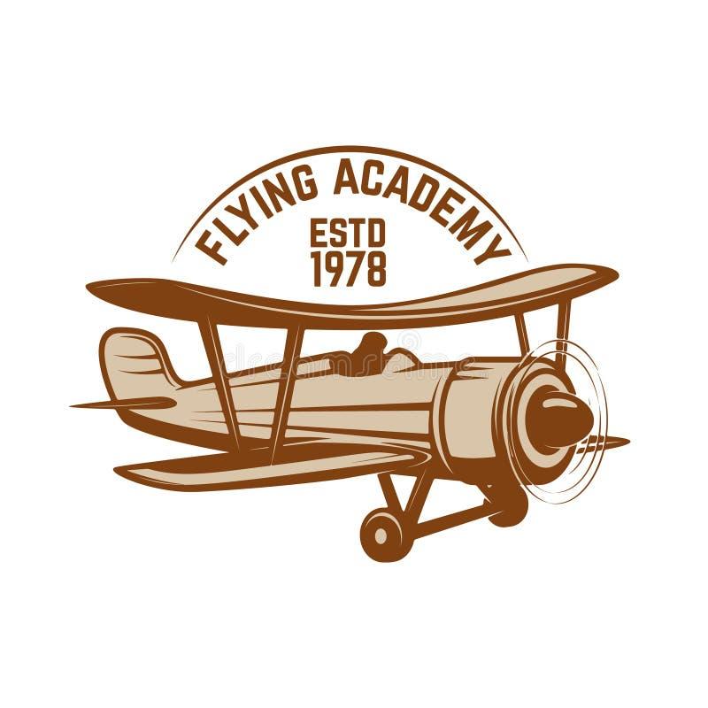 Modello dell'emblema del centro di formazione di aviazione con il retro aeroplano Progetti l'elemento per il logo, l'etichetta, l illustrazione vettoriale