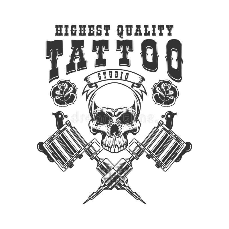 Modello dell'emblema dello studio del tatuaggio Macchina attraversata del tatuaggio, cranio, rose Progetti l'elemento per il logo illustrazione vettoriale