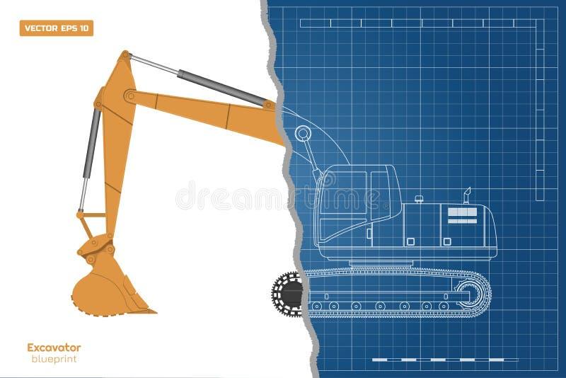 Modello dell'escavatore su fondo bianco Vista frontale laterale e della cima, Zappatore diesel Immagine della macchina idraulica illustrazione di stock