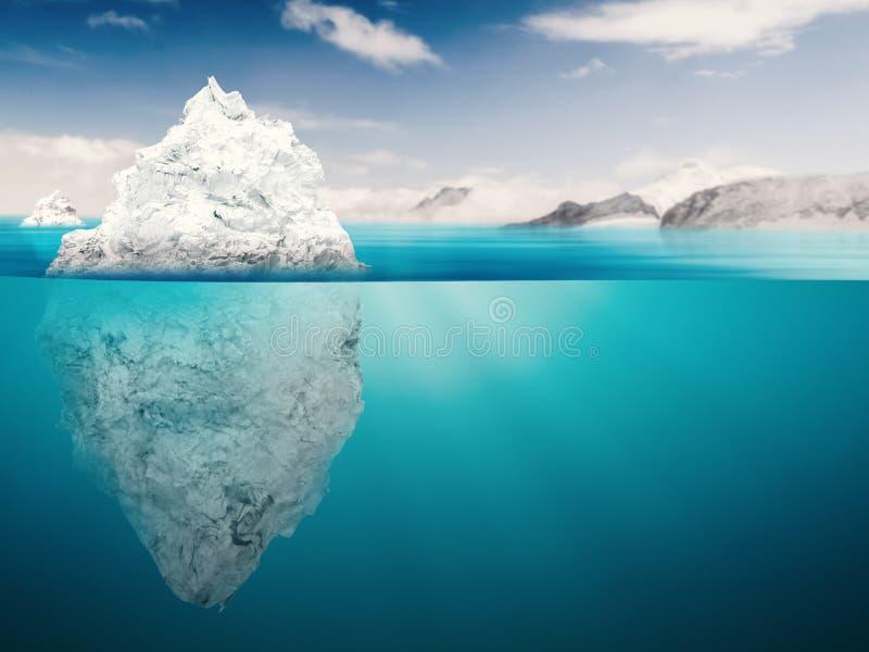 Modello dell'iceberg sull'oceano blu illustrazione di stock