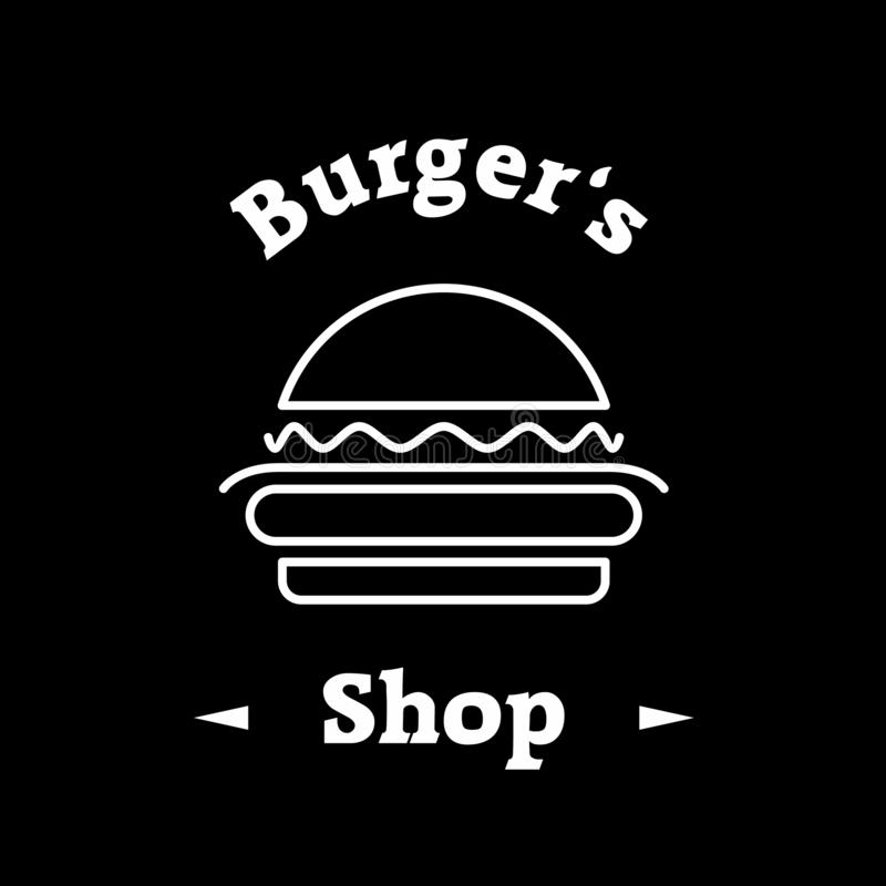 Modello dell'icona di logo del negozio dell'hamburger su fondo nero illustrazione vettoriale