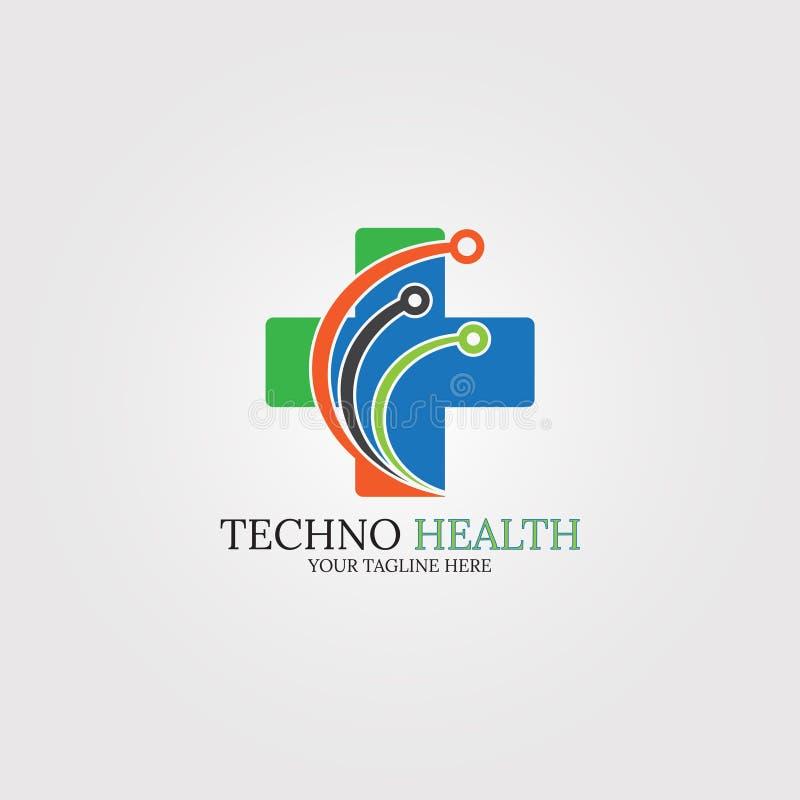 Modello dell'icona di salute di Digital, tecnologia di logo per l'affare corporativo, tecnologia medica, simbolo di creativit?, i illustrazione di stock