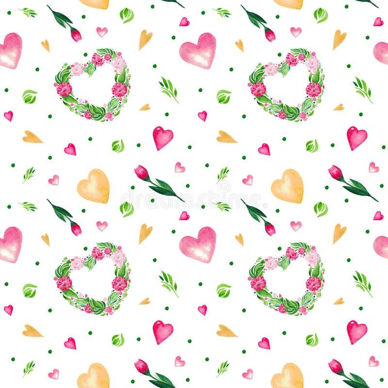 Modello dell'illustrazione dell'acquerello dei fiori senza cuciture Metta del cuore rosso delle foglie verdi e dei fiori su fondo illustrazione di stock