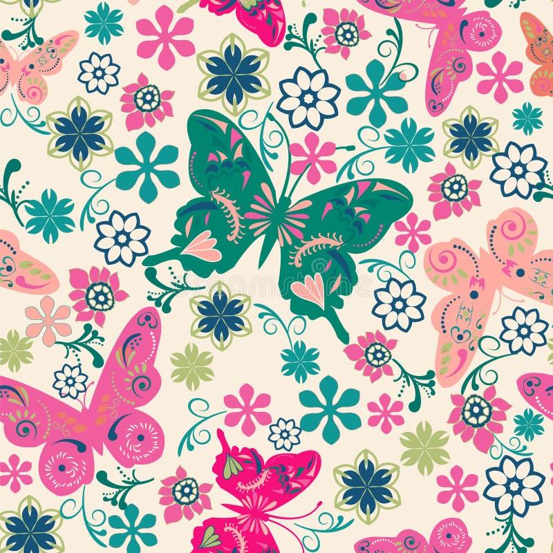 Modello dell'illustrazione dei fiori e delle farfalle illustrazione vettoriale