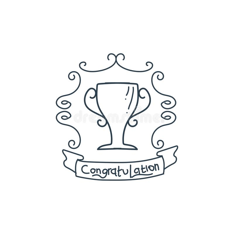 modello dell'illustrazione di vettore dell'icona del vincitore del premio del trofeo royalty illustrazione gratis