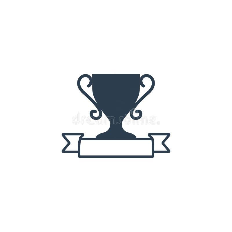 modello dell'illustrazione di vettore dell'icona del vincitore del premio del trofeo illustrazione di stock
