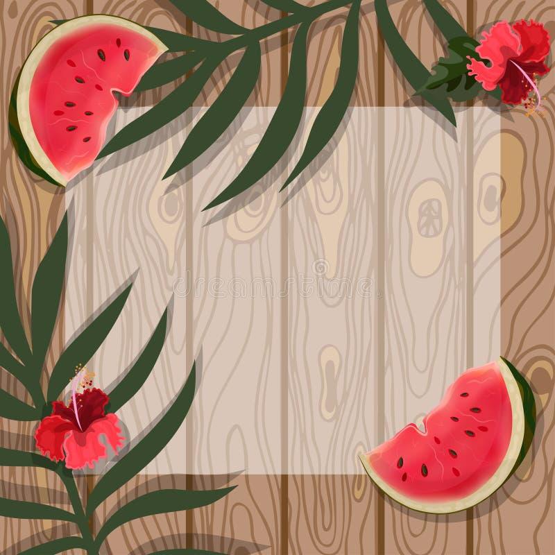 Modello dell'illustrazione di vettore di vacanza estiva Manifesto delle foglie tropicali, anguria sul fondo del bordo di legno illustrazione vettoriale