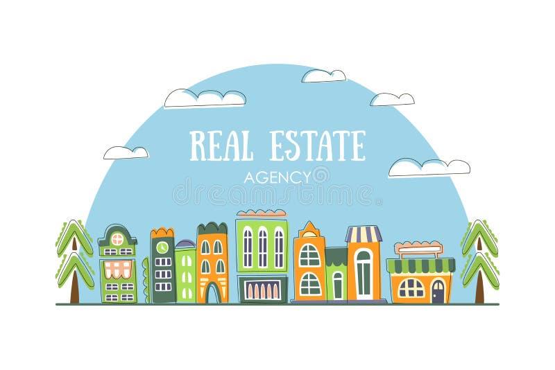 Modello dell'insegna dell'agenzia immobiliare con l'illustrazione disegnata a mano sveglia di vettore delle costruzioni della via royalty illustrazione gratis
