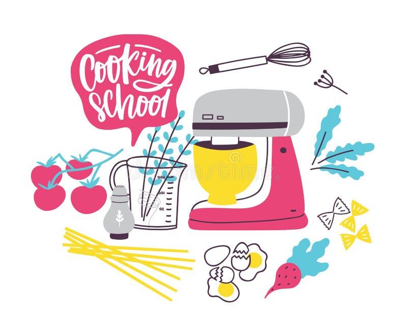Modello dell'insegna con gli utensili della cucina o delle pentole per la preparazione di alimento Illustrazione variopinta di ve illustrazione di stock
