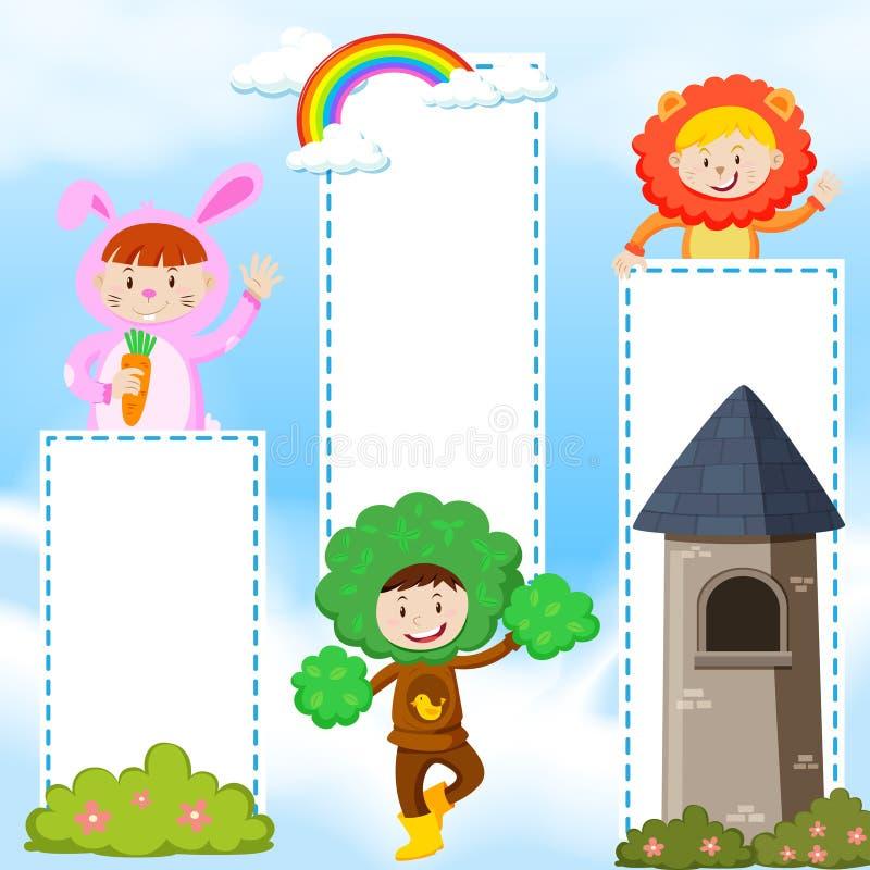 Modello dell'insegna con i bambini in costume illustrazione di stock