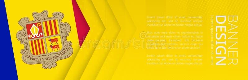 Modello dell'insegna con la bandiera dell'Andorra per il viaggio, l'affare ed altro di pubblicità royalty illustrazione gratis