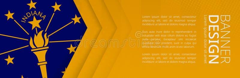 Modello dell'insegna con la bandiera di U S stato Indiana per il viaggio, l'affare ed altro di pubblicità illustrazione vettoriale