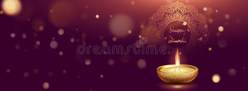 Modello dell'insegna con la lampada a olio realistica su fondo porpora scuro con effetto della luce per la celebrazione di festiv illustrazione vettoriale