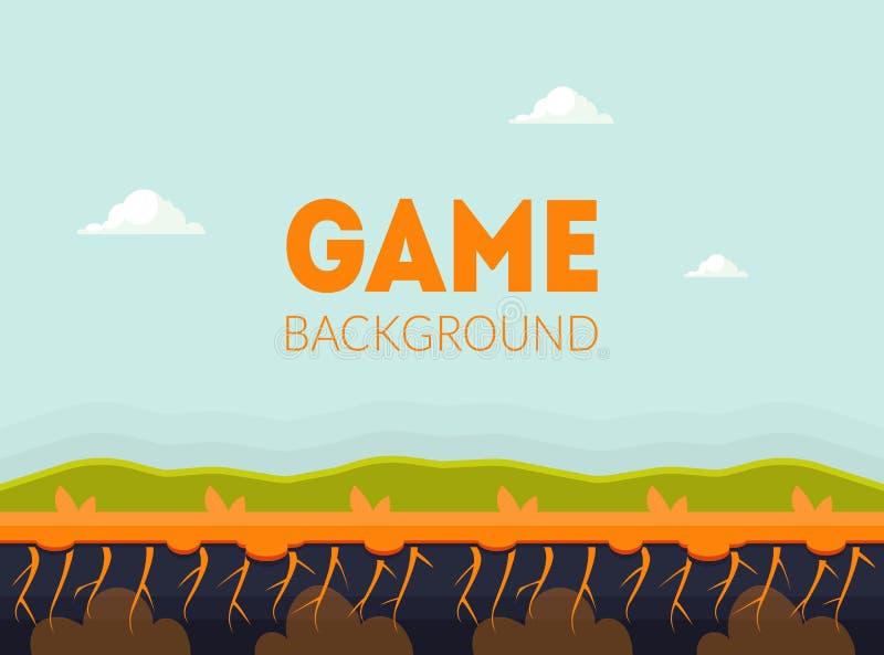 Modello dell'insegna del fondo del gioco con il vettore naturale dell'elemento dell'interfaccia utente del paesaggio, del cellula royalty illustrazione gratis