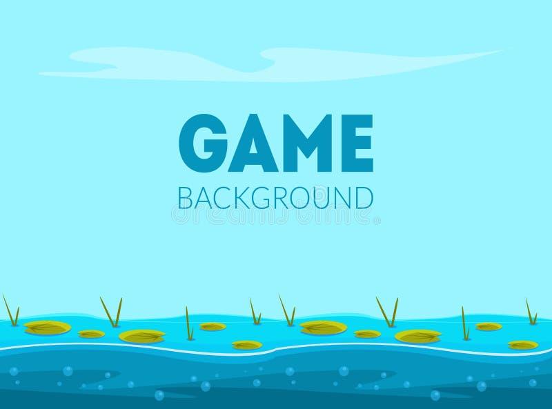 Modello dell'insegna del fondo del gioco, paesaggio naturale per il cellulare o illustrazione di vettore dell'interfaccia utente  royalty illustrazione gratis