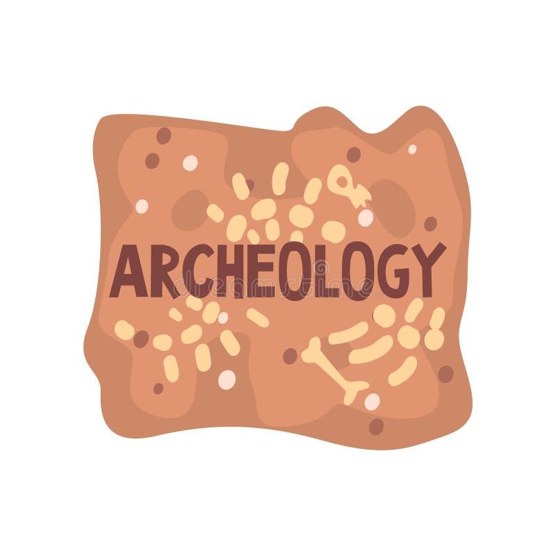 Modello dell'insegna del manifesto di scienza di archeologia, paleontologia ed illustrazione di vettore di storia illustrazione vettoriale