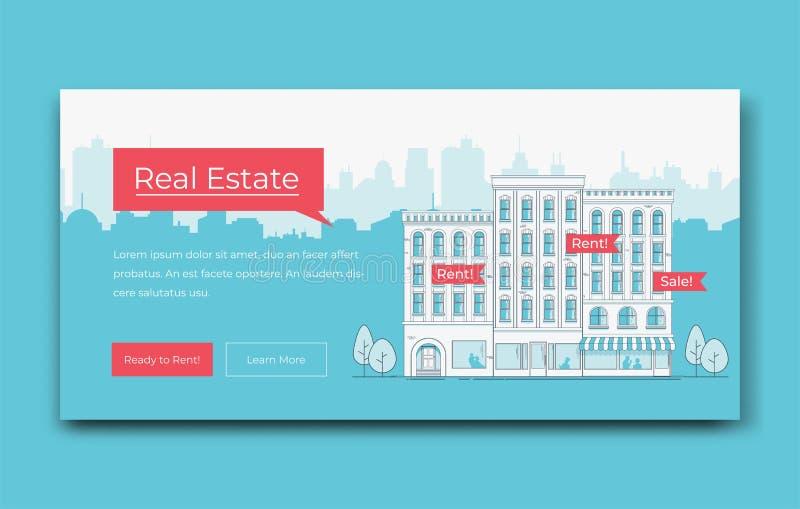 Modello dell'insegna del sito Web di Real Estate Illustrazione di vettore royalty illustrazione gratis