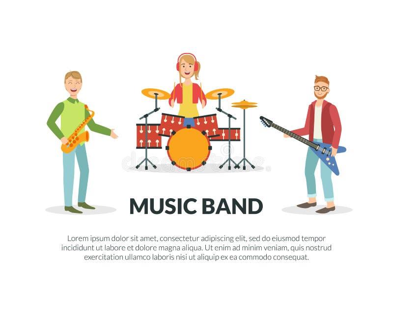 Modello dell'insegna della banda di musica con spazio per testo, musicisti che eseguono con l'illustrazione di vettore degli stru illustrazione vettoriale
