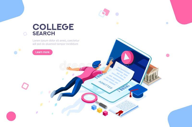 Modello dell'insegna della pagina Web dell'istituto universitario illustrazione vettoriale
