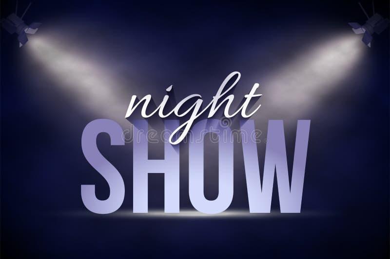 Modello dell'insegna di annuncio Il fondo del testo di manifestazione di notte di vettore in scena sotto il punto blu si accende royalty illustrazione gratis
