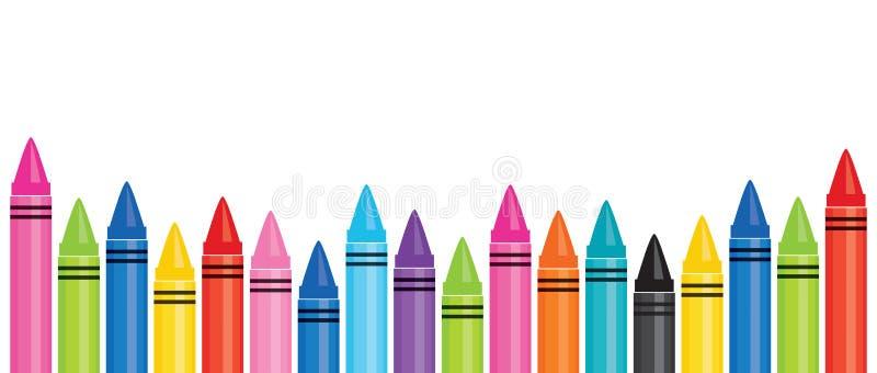 Modello dell'insegna di istruzione con i pastelli variopinti 2 illustrazione di stock
