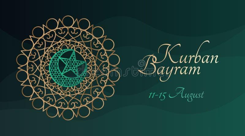 Modello dell'insegna di Kurban Bayram con il modello islamico tradizionale illustrazione vettoriale