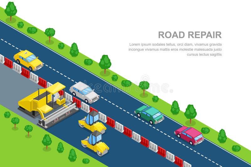 Modello dell'insegna di riparazione della strada Illustrazione isometrica di vettore 3d Macchina di pavimentazione dell'asfalto e royalty illustrazione gratis